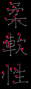 Kanji Stroke Order for 柔軟性