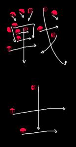 Kanji Stroke Order for 戦士