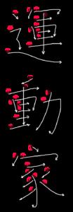 Kanji Stroke Order for 運動家