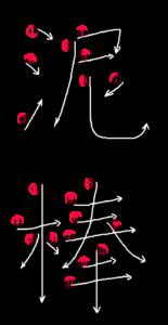Kanji Stroke Order for 泥棒