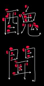 Stroke Order for 醜聞