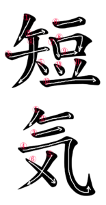 Stroke Order for 短気