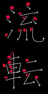Stroke order for 流転