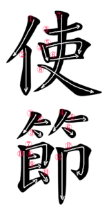 Stroke Order for 使節