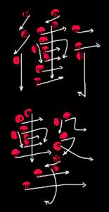 Stroke Order for 衝撃