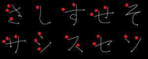 sagyou stroke orders