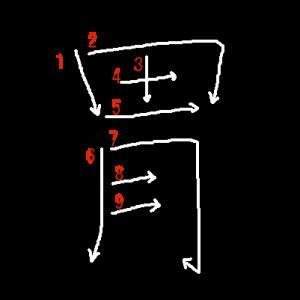 """Jouyou Kanji """"胃"""" Stroke Order"""