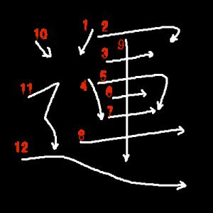 """Jouyou Kanji """"運"""" Stroke Order"""