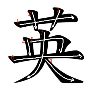"""Jouyou Kanji """"英"""" Stroke Order"""