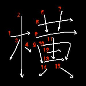 """Jouyou Kanji """"横"""" Stroke Order"""