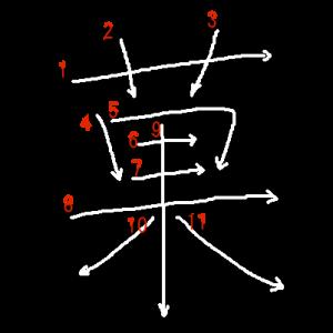 """Jouyou Kanji """"菓"""" Stroke Order"""