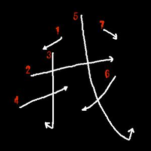 """Jouyou Kanji """"我"""" Stroke Order"""