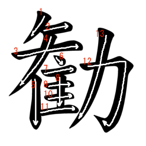 """Jouyou Kanji """"勧"""" Stroke Order"""