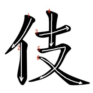 """Jouyou Kanji """"伎"""" Stroke Order"""