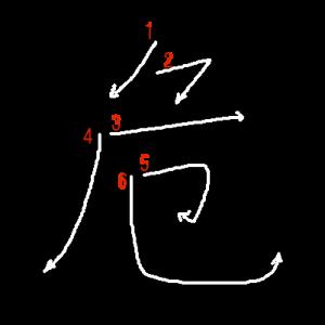 """Jouyou Kanji """"危"""" Stroke Order"""