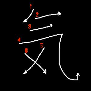 """Jouyou Kanji """"気"""" Stroke Order"""
