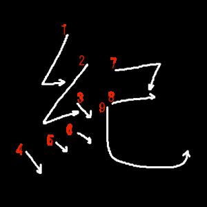 """Jouyou Kanji """"紀"""" Stroke Order"""