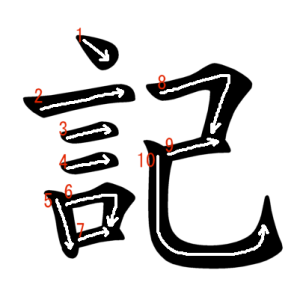 """Jouyou Kanji """"記"""" Stroke Order"""