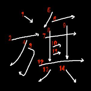 """Jouyou Kanji """"旗"""" Stroke Order"""