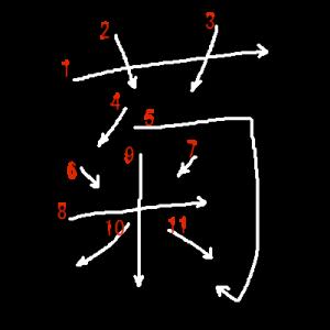 """Jouyou Kanji """"菊"""" Stroke Order"""