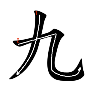 """Jouyou Kanji """"九"""" Stroke Order"""