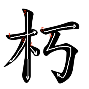"""Jouyou Kanji """"朽"""" Stroke Order"""