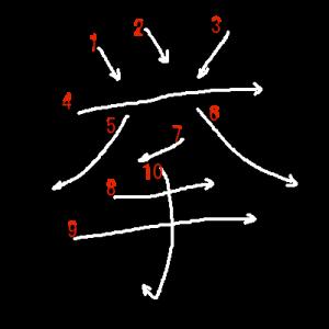 """Jouyou Kanji """"挙"""" Stroke Order"""