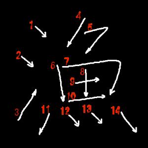 """Jouyou Kanji """"漁"""" Stroke Order"""