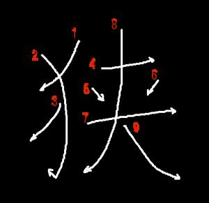 """Jouyou Kanji """"狭"""" Stroke Order"""