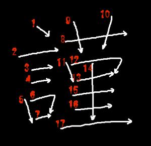 """Jouyou Kanji """"謹"""" Stroke Order"""