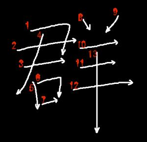 """Jouyou Kanji """"群"""" Stroke Order"""