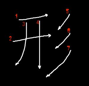 """Jouyou Kanji """"形"""" Stroke Order"""