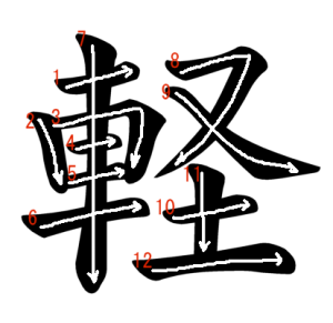 """Jouyou Kanji """"軽"""" Stroke Order"""