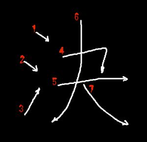 """Jouyou Kanji """"決"""" Stroke Order"""