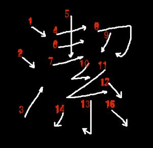 """Jouyou Kanji """"潔"""" Stroke Order"""