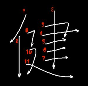 """Jouyou Kanji """"健"""" Stroke Order"""
