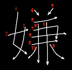 """Jouyou Kanji """"嫌"""" Stroke Order"""