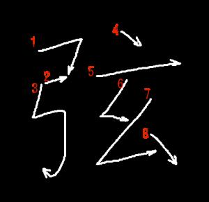 """Jouyou Kanji """"弦"""" Stroke Order"""