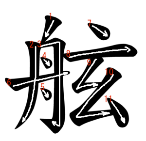 """Jouyou Kanji """"舷"""" Stroke Order"""