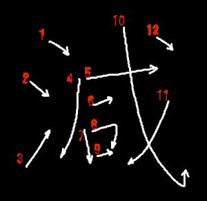 """Jouyou Kanji """"減"""" Stroke Order"""