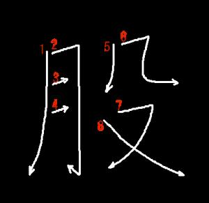 """Jouyou Kanji """"股"""" Stroke Order"""
