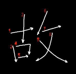 """Jouyou Kanji """"故"""" Stroke Order"""