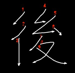 """Jouyou Kanji """"後"""" Stroke Order"""