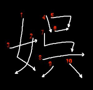 """Jouyou Kanji """"娯"""" Stroke Order"""