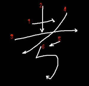 """Jouyou Kanji """"考"""" Stroke Order"""