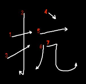 """Jouyou Kanji """"抗"""" Stroke Order"""