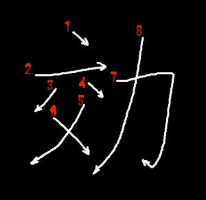 """Jouyou Kanji """"効"""" Stroke Order"""