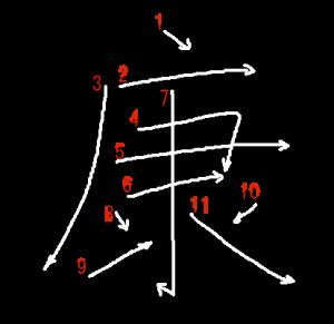 """Jouyou Kanji """"康"""" Stroke Order"""