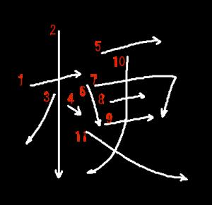 """Jouyou Kanji """"梗"""" Stroke Order"""