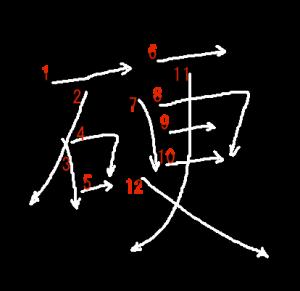 """Jouyou Kanji """"硬"""" Stroke Order"""